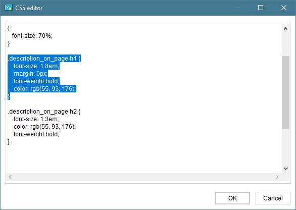 HTML export settings