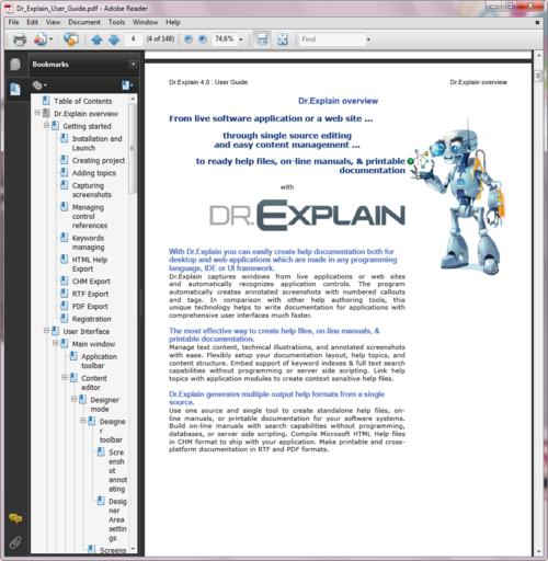 Creating printable manuals in PDF
